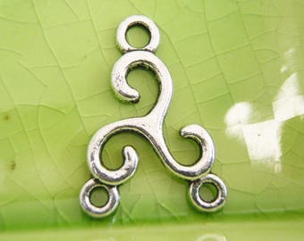 20 silver swirl Celtic connectors charms pendants waves 2 to 1 3 holes 26mm x 18mm - C0730-20