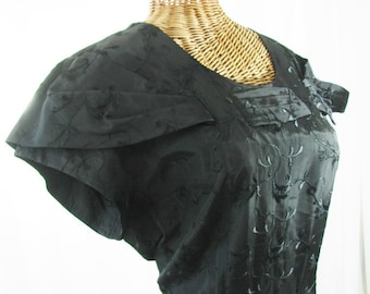 Black Taffeta Dress by Stateman 1950s Bert Swaybill Unworn Size 18.5