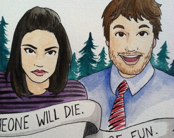 Parks and Rec April and Andy Original Watercolor 10x10""