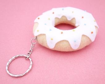 White Donut Keyring