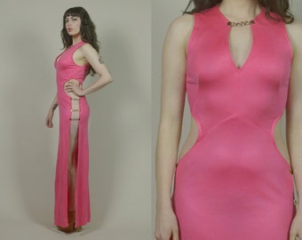 70s Maxi Dress Hot Pink Cut Out Gold Chain PEEK A BOO Keyhole Neckline Sleeveless Sexy 1970s Disco Valentine's Dress / Size S Small