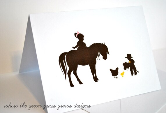Cowgirl and Cowboy Thank you Note Cards