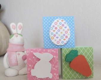 Easter Block Trio, Wooden Easter Blocks, Easter Decoration, Easter Decor, Bunny, Egg, Carrott