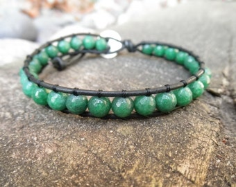 Single Faceted Green Agate and Leather Wrap Bracelet