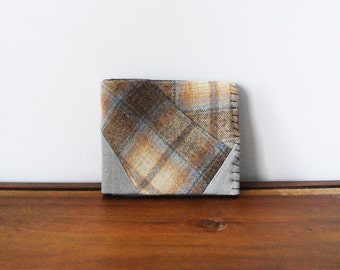 Upcycled Tan and Blue Plaid Wool Bifold Wallet with Grey Interior