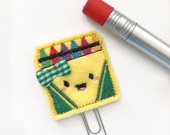 Cute crayons box planner clip / organizer clip /  Paperclip / Planner Bookmark - Paperclip Bookmark - Planner Clips