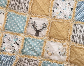 Baby Rag Quilt Fawn Aqua and Butterscotch Plush Rag Quilt Going Stag Gender Neutral Baby Blanket Lap Quilt Childs Quilt