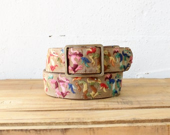 70s Belt • Embroidered Belt • Rainbow Belt • Colorful Belt • Brass Belt Buckle • Velvet Belt • Womens Wide Belt | BT239