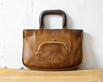 Bonnie Cashin Coach Satchel • Leather Satchel Purse • 1970s Attache Case • Coach Kisslock Purse • Brown Coach Purse • Coach Tote | B681