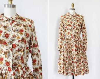 Vintage Floral Dress XS/S • 60s Dress • Peter Pan Collar Dress • Pleated Dress • Cotton Shirtdress • Knee Length Dress | D1189