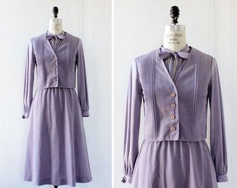 I Magnin Two Piece Dress Set M • Lavender Dress • Vintage Midi Dress • Two Piece Outfit • Purple Velvet Dress • Dress with Pockets | D1214