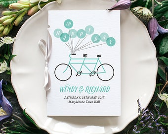 Bike Wedding Program / 'Tandem Bicycle' Pocket-sized Order of Service Mass Booklet / Oh Happy Day / Aqua Blue / Custom Colours / ONE SAMPLE