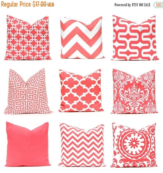 20% Off Sale Pillow Covers - Coral Pillow Covers - Decorative Pillow Covers - Coral Bedding - Coral Cushion Cover - Coral Chevron - Coral So