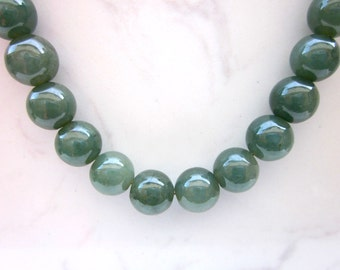 Estate GIA Lab Graded Rare Natural Color Untreated Jadeite Jade Beaded Necklace with 14k Solid Yellow Gold Clasp