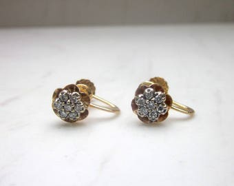 Antique .28 Carat Total Carat Weight Diamond Cluster 14k Solid Yellow Gold Screw Back Pierced Earrings