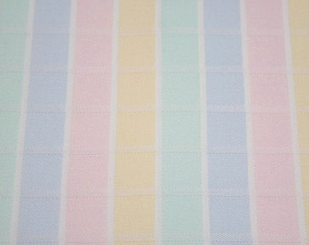 Pastel Stripe Fabric | Vintage European Pastel Rainbow Windowpane Check Cotton Fabric - 39 x 30 Inches