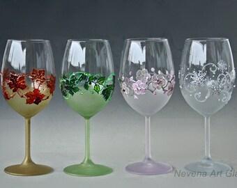 Wine Glasses, Four Seasons Glasses, 4 Seasons Wine Set, The Four Seasons Set, Swarovski Glasses,  Hand painted