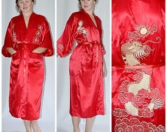 Vintage Red Silk Satin Robe Kimono With Metallic Gold Embroidery Dragons Uni Sex Chest to 46 Inches