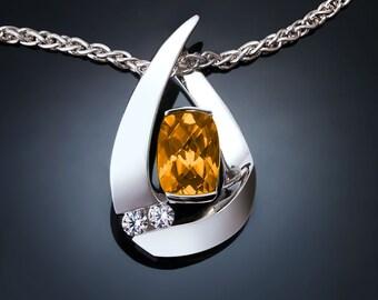 citrine necklace, citrine pendant, November birthstone, white sapphires, Argentium silver, artisan jewelry, yellow gemstone -3378
