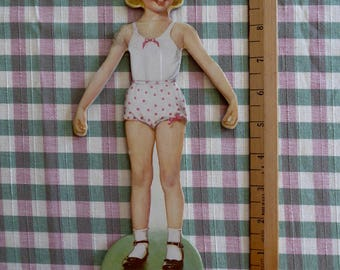 """Vintage Paper Doll  Blonde Girl   10"""" Thick  Board 50's"""