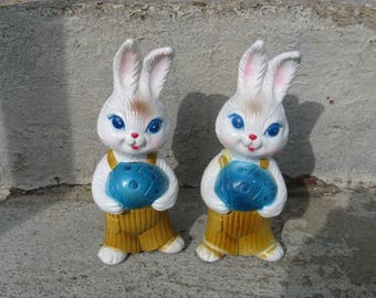 vintage boy easter bunnies  set of 2 plastic Easter decorations