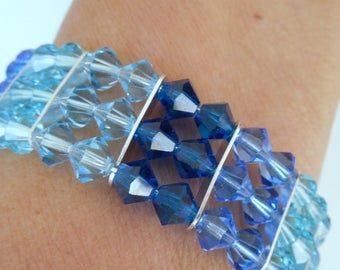Blue Crystal Memory Wire Braclet