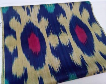 Uzbek handwoven blue cotton ikat fabric by meter. F036