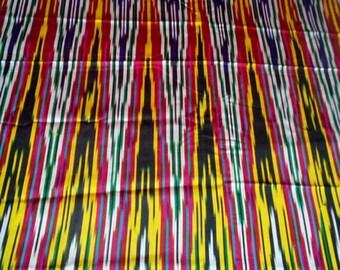 Uzbek vintage silk ikat fabric Han atlas 3 meters. VI003