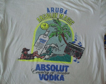 Vintage 90's Absolut Vodka Aruba Magic Tourist Vacation Beach Sweden Liquor Party T shirt Adult Size Medium M