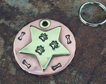 Big Dog Sheriff Pet Tag in Copper or Brass, Custom