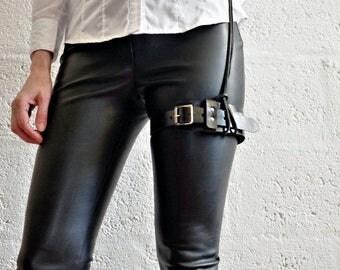 Unisex Leather Garter Belt - Black - steampunk - burning man - festivals - apocalypse, Please read Description for size