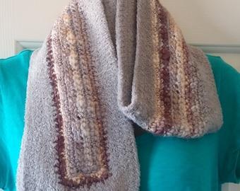 Crochet Scarf - Gray, Purple, Cream and Tan