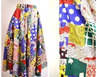 1950s Novelty patchwork print reversible taffeta full skirt / 50s rayon printed leopard card suit multicoloured evening skirt - XS S
