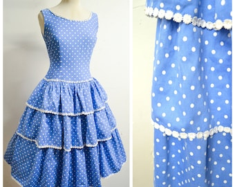 1950s Blue & white polka dot cotton tiered skirt drop waist day dress / 50s Blanes full dropped skirt sundress - XS S