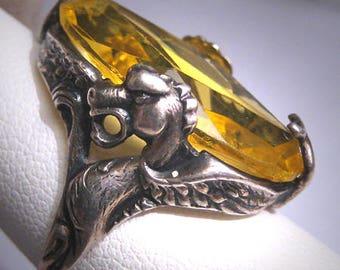 Rare Antique Citrine Paste Ring with Dragons Victorian Art Nouveau Deco Wedding c.1900 Czech