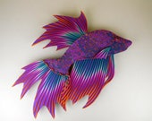 Large Betta Fish Clock or Wall Art Sculpture in Purple, Blue and Orange Polymer Clay