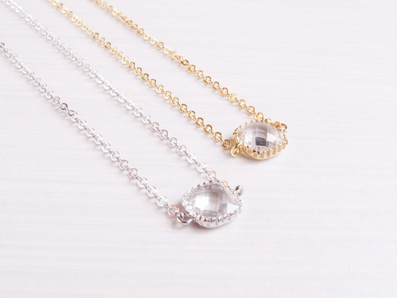 Personalized Birthstone Necklace | Birthstone Necklace | Gold Birthstone Necklace | Bridesmaids Necklace | Mom Necklace