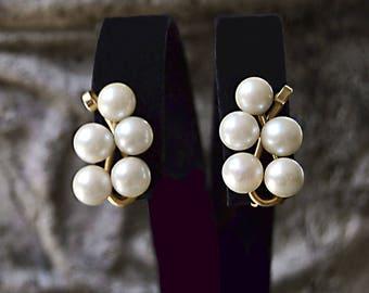 LOVELY Luminous 5 Akoya PEARLS Clip Back EARRINGS 14k Gold Bride Engagement