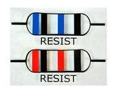 Resist Resistor Red and Blue Vinyl Sticker/Decal 2 Pack
