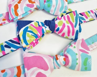 Kids Lilly Pulitzer Bow Tie, Easter bow tie, handmade bow tie, bright bow ties