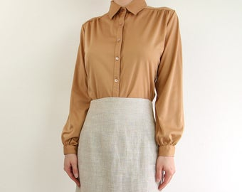 VINTAGE 1970s Blouse Caramel Longsleeve Shirt