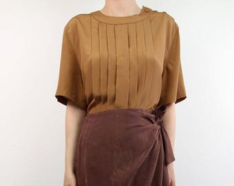 VINTAGE Blouse Toffee Brown Shortsleeve Pleated