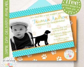 Puppy Invitation, Puppy Birthday Invitation, Puppy Party, Boy First Birthday, Boy Birthday, Puppy Invite, Printable Puppy Photo Invite