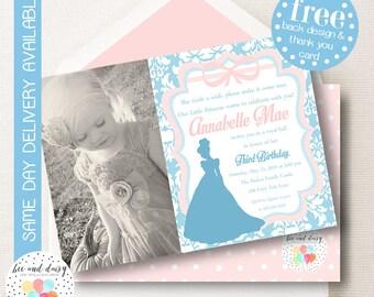 Cinderella Invitation, Cinderella Birthday Invitation, Cinderella Party, Princess Party, Girl First Birthday, Girl Birthday, Photo Invite