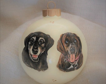 Custom pet portrait painting ornaments, dog portrait on 4 inch Christmas ball ornament - memorial pet portrait paintings