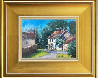 French Landscape Original Oil Painting Portrait, French Village, French Country, France Burgundy, Modern Still Life, small framed painting
