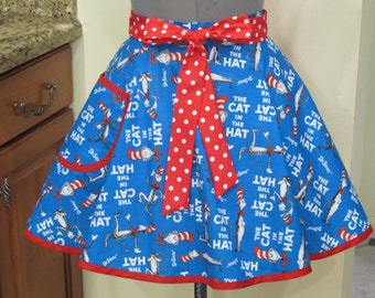 Read Across America - Dr. Seuss Half Flouncy  Kitchen Apron with a hint of Polka Dots