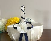 Reserved auction wedding large 10 inch basket ivory color with navy blue