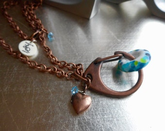 Change a Bead Pendant Necklace, Hand Made Lamp work Glass, Interchangeable, Antiqued Copper, Heart, Swarovski Crystals, Charm holder.