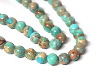 8mm Turquoise Aqua Terra Jasper Gemstone Beads, round bead, Full & half strands available (1055S)